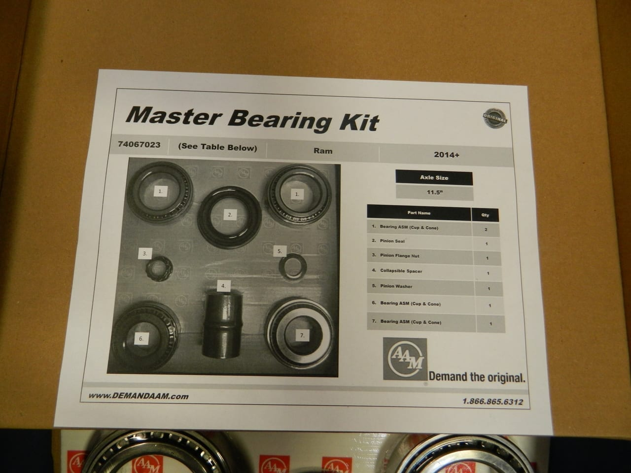 2014+ Dodge Ram 2500 11.5 Coil Spring Rear Differential Master Bearing Rebuild Kit