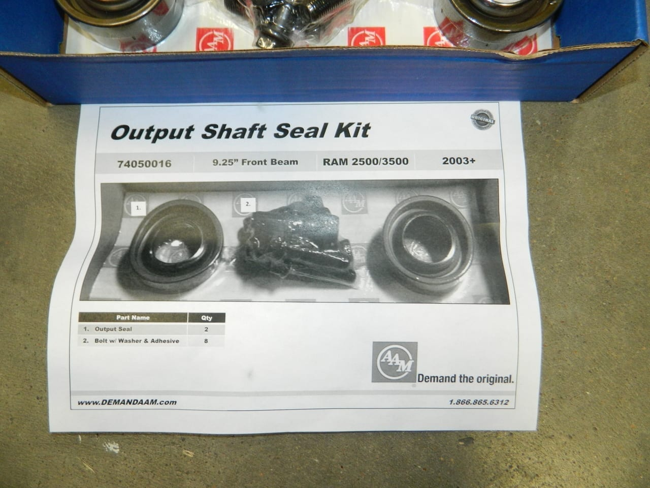 Dodge Ram 2500 3500 2003+ 9.25 4X4 Front Axle Tube Seal Kit AAM