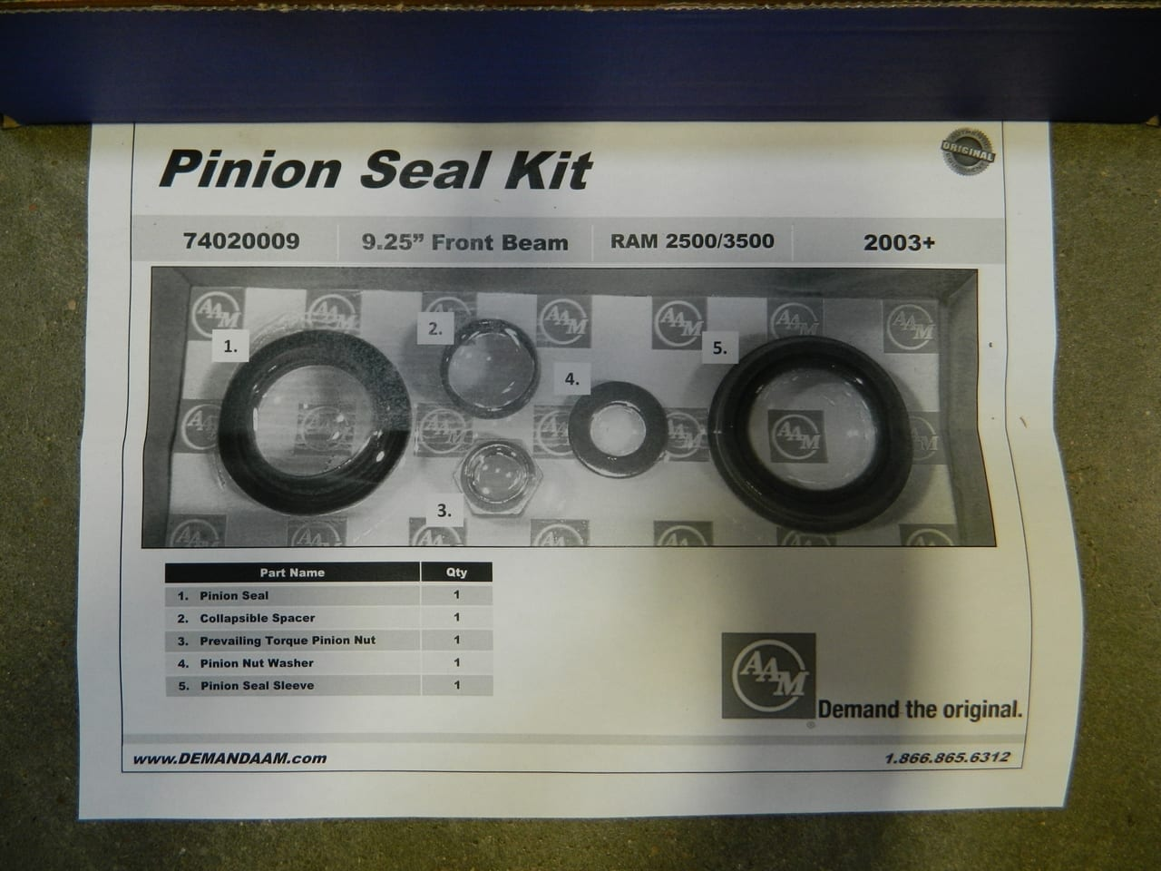 2003+ Dodge Ram 2500/3500 4X4 Front Axle Pinion Seal Kit AAM 9.25