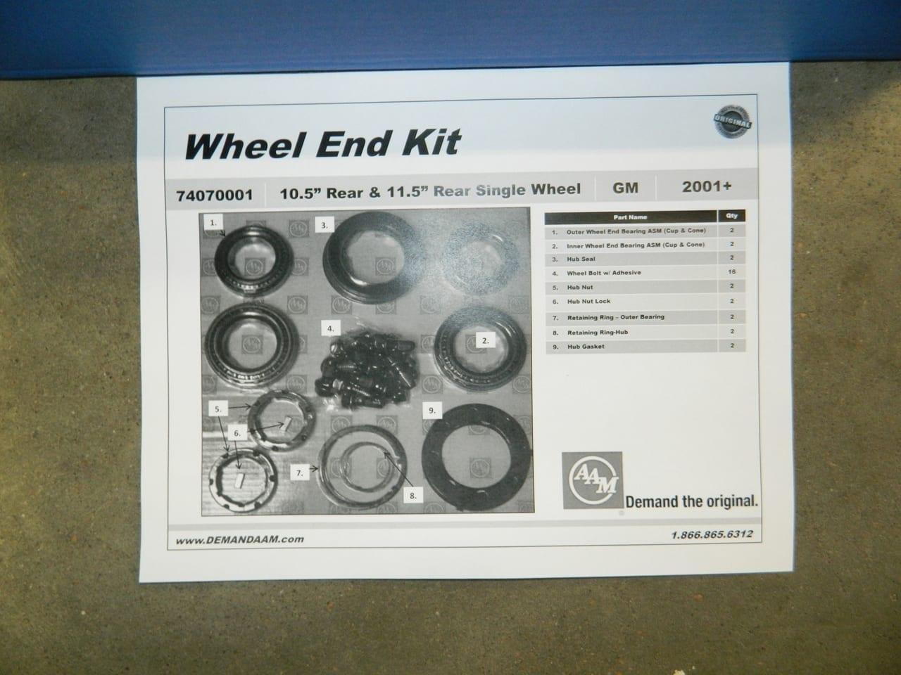 GM 10.5/11.5 Single Rear Wheel Hub Bearing Kit 2001-2010 Chevrolet 2500 3500 AAM Axle